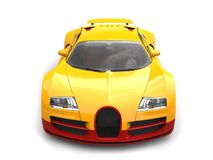 Sun yellow modern super sports car - top view Royalty Free Stock Photography