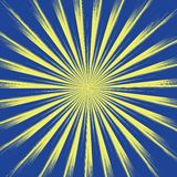 Sun yellow rays on blue background. Sun with long rays vector eps10. stock illustration