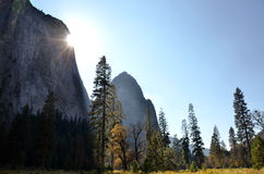 Sun in Yosemite Valley Stock Photo