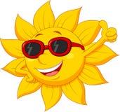 Sun-Zeichentrickfilm-Figur mit dem Daumen oben Stockbild