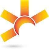 Sun-Zusammenfassungs-, Sonnen- und Reiselogo Lizenzfreies Stockbild