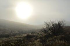 Sunball nebuloso, parque nacional de la curva grande, Tejas fotos de archivo