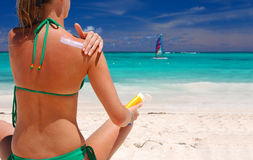 sunbath采取 免版税图库摄影