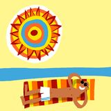 sunbath человека иллюстрация штока