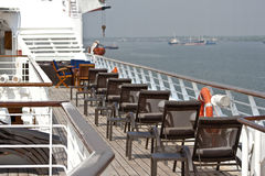 Sunbath chairs on a cruise Royalty Free Stock Photos