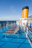 Sunbath chairs on cruise liner. Sunbath chairs on upper deck of cruise liner stock photography