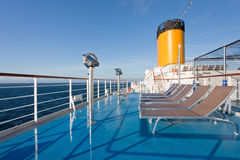 Sunbath chairs on cruise liner Royalty Free Stock Photography