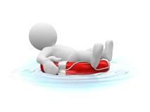 Sunbath op reddingsgordel Royalty-vrije Stock Afbeelding