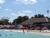 Sunbath-Plätze unter Regenschirmen und Palmen auf tropischem sandigem Schildkrötenstrand mit Touristen in Cancun-Stadt in Mexiko stockfoto