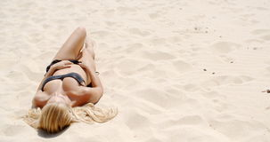 Sunbath at Sandy Beach stock footage
