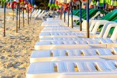 Sunbath seats on the beach Stock Photos