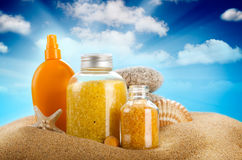 Sunbath - suntan oil and spa minerals Royalty Free Stock Images