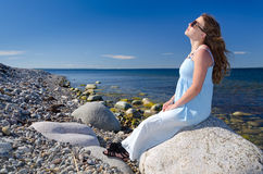 Sunbath on Swedish coast Royalty Free Stock Photos