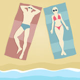 Sunbathers stock illustratie