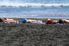 Sunbathers alla spiaggia di Piha Fotografie Stock