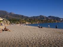 Strand in Nerja Spanien Lizenzfreies Stockbild
