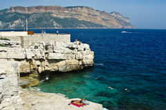Sunbathers in Cassis Stock Photo