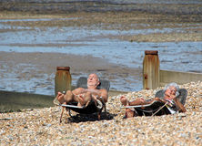 Sunbathers senior Fotografia Stock
