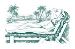 sunbathing женщина Стоковое фото RF