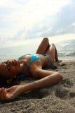 sunbathing женщина Стоковое Фото