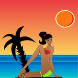 Sunbathing. Illustration of a woman sunbathing and relaxing on the beach during sunset Stock Photos