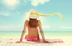 Sunbathing. Summer girl on white background Royalty Free Stock Photos