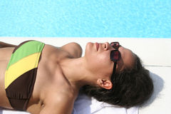 Sunbathing. Girl sunbathing Stock Images
