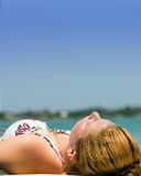 Sunbathing stock photography