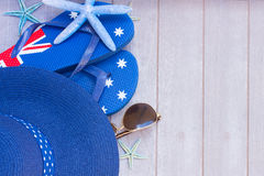 Sunbathing accessories and straw hat Royalty Free Stock Photography