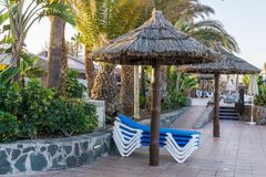 Sunbathing area at hotel bungalows sun beds blue and white beneath an umbrella. A sunbathing area at hotel bungalows sun beds blue and white beneath an umbrella stock photography