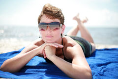 Sunbathing at the Beach Royalty Free Stock Photo