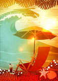 Sunbathing in beach background Stock Photography