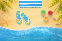 Sunbathing on the beach under the shade of palm trees royalty free illustration