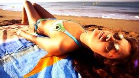 Sunbathing Beach woman stock video