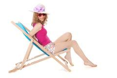 Sunbathing at the beach Stock Photography