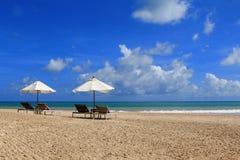 Sunbathing Beds with White Umbrella Royalty Free Stock Image