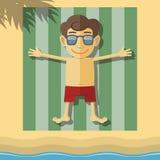 Sunbathing boy Stock Photos