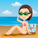 Sunbathing Brunette Stock Images