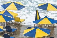 Sunbathing Canceled. It is not a weather for sunbathing Stock Photo