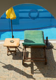Sunbathing chair and unbrella Royalty Free Stock Photo