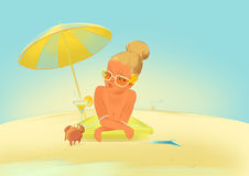 Sunbathing girl with crab Stock Photos