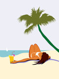 Sunbathing girl under palm tree Stock Photography