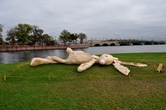 Sunbathing hare. A funny sculpture made by Holland artists which was placed in St. Petersburg near Peter and Paul Fortress Stock Image
