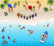 Sunbathing people. Sunny beach view. Vector illustration of sunbathing people. Sunny beach view from above Royalty Free Stock Image