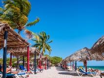 Sunbathing pod drzewkami palmowymi i parasols przy Playa Ancon w Karaiby obrazy stock