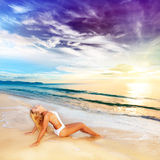Sunbathing at sunrise Royalty Free Stock Photo