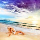 Sunbathing at sunrise Royalty Free Stock Photo