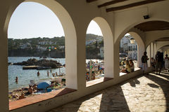 Sunbathing in the village of Calella de Palafrugell Royalty Free Stock Photography