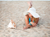 Sunbathing woman Royalty Free Stock Images