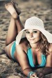 Sunbathing woman royalty free stock images